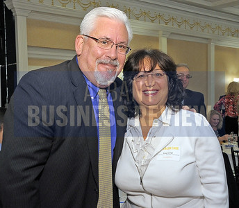 4-24-2015, Albany Business Review's Health Care Power Breakfast. Joe Monahan, MD of Fusco Personnel Inc. and Gina Longo of First Niagara Benefits Consulting.