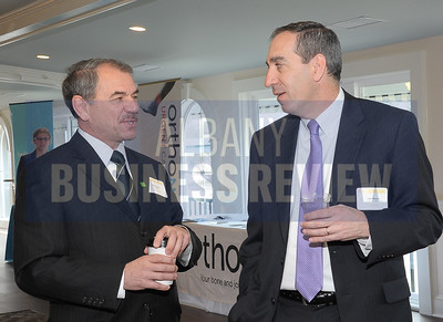 4-24-2015, Albany Business Review's Health Care Power Breakfast. left, Bob Davey of TD Bank and Dean Burns of JPMorgan Chase Bank.