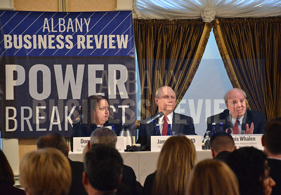 3-27-2014, Power Breakfast, Health Care. panelists; Donna Frescatore, executive director of New York State of Health;  Dr. Jim Reed, president and CEO of St. Peter's Health Partners;  Dennis Whalen, president of Healthcare Association of New York State (HANYS)