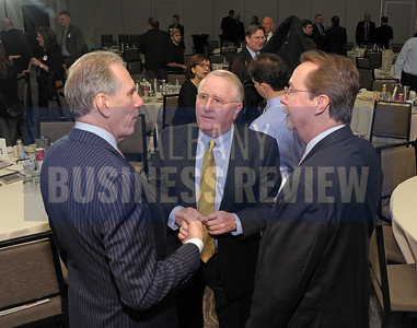 Panelist Dan Nolan of Hugh Johnson Advisors, left, with William Cromie of Cromie Consulting and Bob Belber from the Times Union Center and Albany Capital Center.