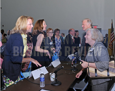 6-24-2015, Albany Business Review's Higher Education Power Breakfast.  Angela McNerney president and CEO of Tech Valley Connect with panelist Laura Schweitzer, president of Union Graduate College.