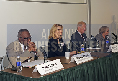 6-24-2015, Albany Business Review's Higher Education Power Breakfast.  panelists Robert Jones, Ph.D., President of the University at Albany; Carolyn Stefanco, Ph.D., President at The College of Saint Rose; Anthony Collins, President at Clarkson University and Laura Schweitzer, Ph.D., President at Union Graduate College.