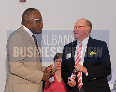 6-24-2015, Albany Business Review's Higher Education Power Breakfast.  UAlbany president Robert Jones, Ph.D. with Bob Blackman from CEG.