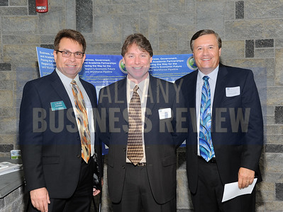 6-24-2015, Albany Business Review's Higher Education Power Breakfast.  Louis Dahoda of Edward Jones, Patrick Dailey of Hoosick Falls Central School District and Scott Crowder of Educational Vistas.