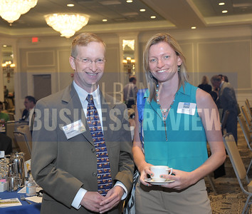 Todd Shimkus, president of the Saratoga County Chamber of Commerce and Alyson Slack from Camoin Associates.