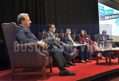 11-18-2016, The Intersection of Health Care and Real Estate Power Breakfast panelists; Dr. Ferdinand Venditti of Albany Medical Center; Rich Rosen of Columbia Development Companies, moderator and senior reporter Michael DeMasi; Mary Gavin of Gavin and Lavigne and Dave Hollander of Sano-Rubin Construction Services