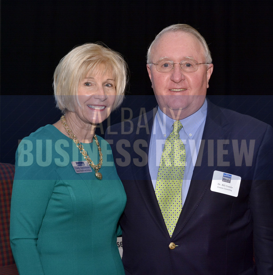 Cindy Applebaum, market president and publisher of the Albany Business Review with Dr. Bill Cromie of Cromie Consulting.