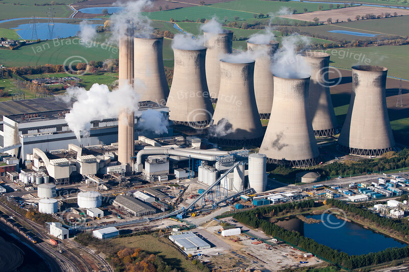 Aerial photo of Eggborough Power Station.