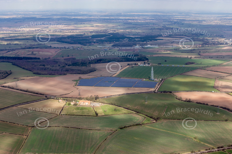 Westwood Solar Farm near Walesby and Kirton in Nottinghamshire from the air.