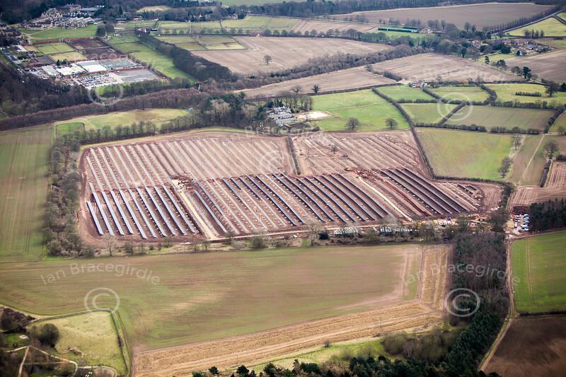 Holciecroft Solar farm near Holbeck in Nottinghamshire from the air.