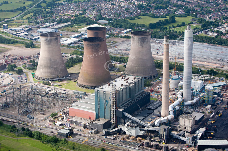 Aerial photo of Rugeley Power Station.