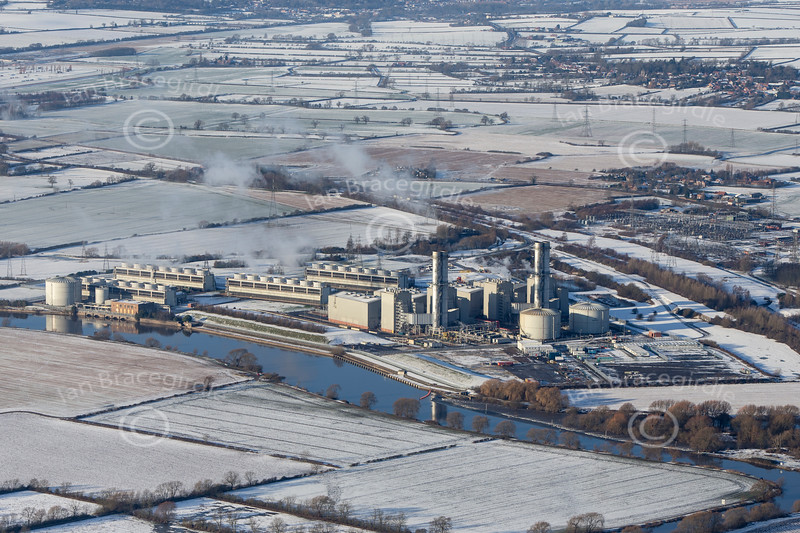 Staythorpe Power Station from the air after snow.