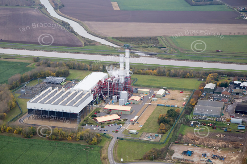 Aerial photo of Sutton Bridge Power Station.