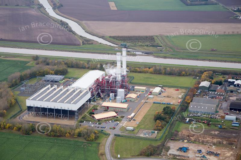 Aerial photo of Sutton Bridge Power Station.