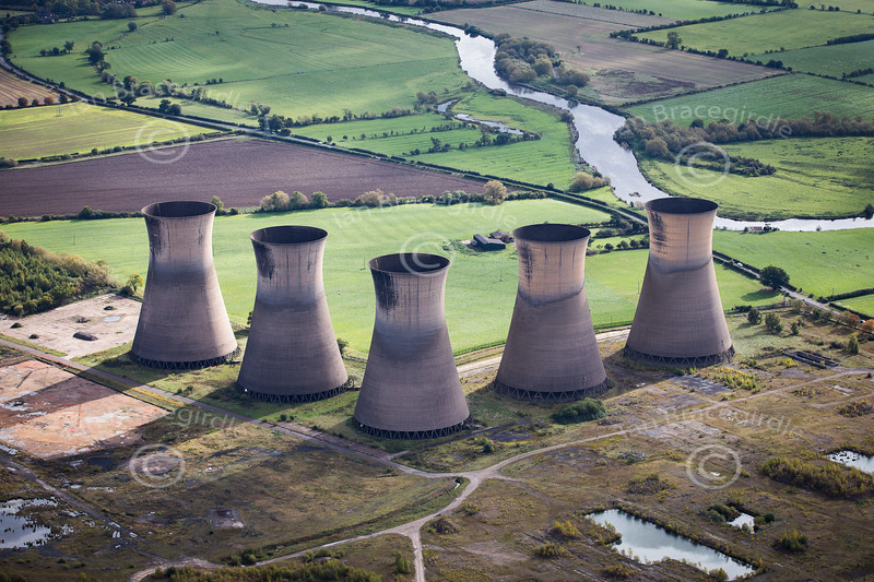 Aerial photo of Willington Power Station.