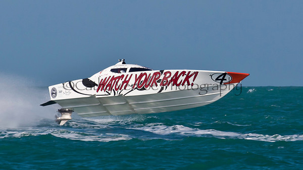 Watch Your Back at the Superboat International Key West World Offshore Powerboat Championship in Key West Florida USA 2012. Cathy Vercoe LuvMyBoat.com