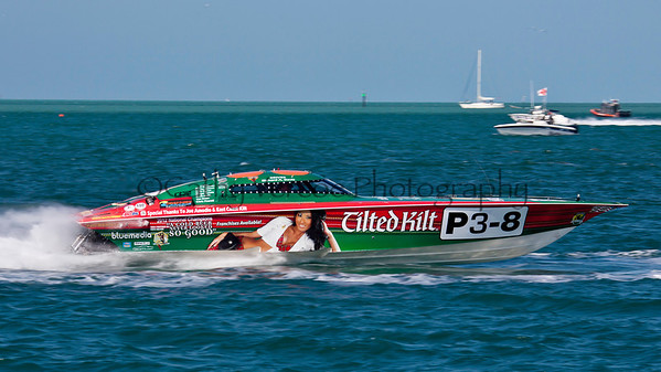 Tilted Kilt at the Superboat International Key West World Offshore Powerboat Championship in Key West Florida USA 2012. Cathy Vercoe LuvMyBoat.com