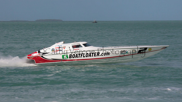 Boatfloater.com racing at the 2013 SBI Superboat International Offshore Powerboat World Championships at Key West, Florida, USA. Cathy Vercoe LuvMyBoat.com