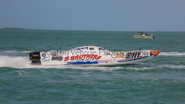 5 Brothers Grocery racing at the 2013 SBI Superboat International Offshore Powerboat World Championships at Key West, Florida, USA. Cathy Vercoe LuvMyBoat.com