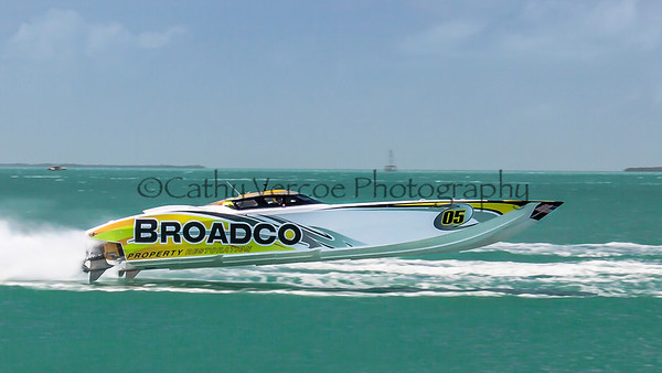 Broadco races at the 2013 SBI Superboat International Offshore Powerboat World Championships at Key West, Florida, USA. Cathy Vercoe LuvMyBoat.com