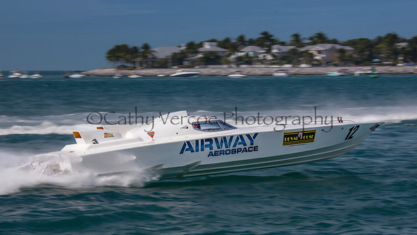 Airway Aerospace racing at the 2013 SBI Superboat International Offshore Powerboat World Championships at Key West, Florida, USA. Cathy Vercoe LuvMyBoat.com