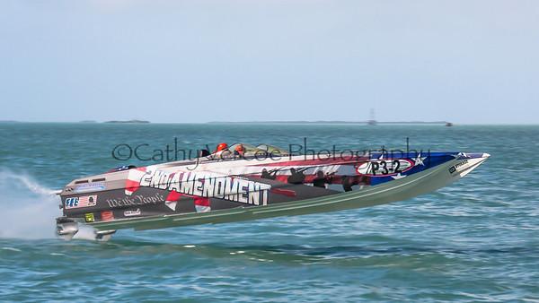 2nd Amendment races at the 2013 SBI Superboat International Offshore Powerboat World Championships at Key West, Florida, USA. Cathy Vercoe LuvMyBoat.com