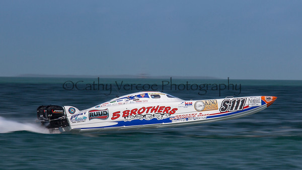 5 Brothers Grocery races at the 2013 SBI Superboat International Offshore Powerboat World Championships at Key West, Florida, USA. Cathy Vercoe LuvMyBoat.com