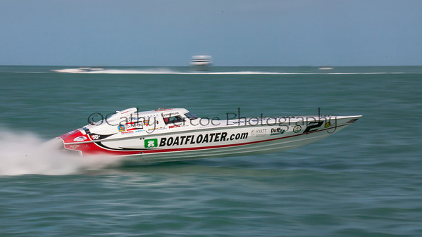 Boatfloater.com races at the 2013 SBI Superboat International Offshore Powerboat World Championships at Key West, Florida, USA. Cathy Vercoe LuvMyBoat.com