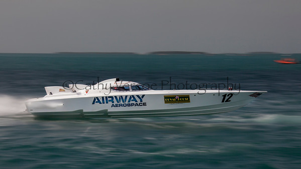 Airway Aerospace races at the 2013 SBI Superboat International Offshore Powerboat World Championships at Key West, Florida, USA. Cathy Vercoe LuvMyBoat.com