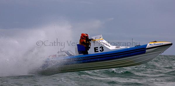 No E3 RIB 'My Pleasure II' racing at the P1 Powerboat RIB race from Lymington 2010.