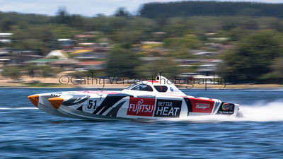 Fujitsu competes at the first race of the 2013 New Zealand Offshore Powerboat Racing season on Lake Taupo. Cathy Vercoe LuvMyBoat.com