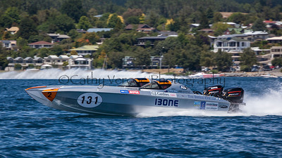 Speedy 1 storms past at the first race of the 2013 New Zealand Offshore Powerboat Racing season on Lake Taupo. Cathy Vercoe LuvMyBoat.com