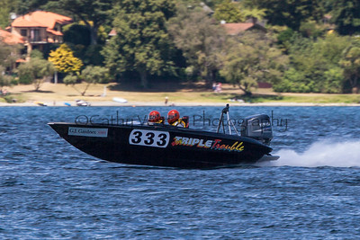Triple Trouble at the first race of the 2013 New Zealand Offshore Powerboat Racing season on Lake Taupo. Cathy Vercoe LuvMyBoat.com