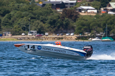 Konica Minolta racing at the first race of the 2013 New Zealand Offshore Powerboat Racing season on Lake Taupo. Cathy Vercoe LuvMyBoat.com