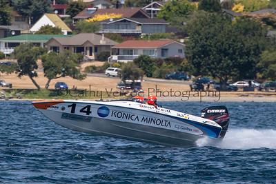 Konica Minolta at the first race of the 2013 New Zealand Offshore Powerboat Racing season on Lake Taupo. Cathy Vercoe LuvMyBoat.com