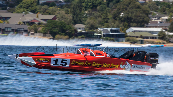 Aririmu Free Range Meat Birds racing at the first race of the 2013 New Zealand Offshore Powerboat Racing season on Lake Taupo. Cathy Vercoe LuvMyBoat.com