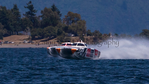 Fujitsu and Fairview at the first race of the 2013 New Zealand Offshore Powerboat Racing season on Lake Taupo. Cathy Vercoe LuvMyBoat.com