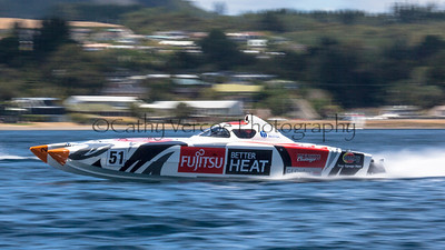 Fujitsu racing at the first race of the 2013 New Zealand Offshore Powerboat Racing season on Lake Taupo. Cathy Vercoe LuvMyBoat.com