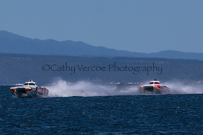 Fujitsu leads Fairview at the first race of the 2013 New Zealand Offshore Powerboat Racing season on Lake Taupo. Cathy Vercoe LuvMyBoat.com
