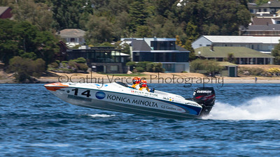 Konica Minolta speeds at the first race of the 2013 New Zealand Offshore Powerboat Racing season on Lake Taupo. Cathy Vercoe LuvMyBoat.com