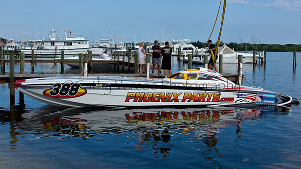 Phoenix Parts gets ready at the 2012  OPA Palm Beach Offshore Powerboat World Championship held at Juno Beach, Jupiter, Florida USA.. Cathy Vercoe