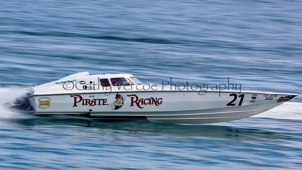 Pirate Racing competes at the 2012  OPA Palm Beach Offshore Powerboat World Championship held at Juno Beach, Jupiter, Florida USA.. Cathy Vercoe