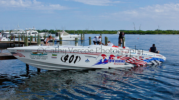 Twin Screws gets ready at the 2012  OPA Palm Beach Offshore Powerboat World Championship held at Juno Beach, Jupiter, Florida USA.. Cathy Vercoe