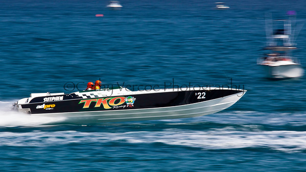 TKO at the 2012  OPA Palm Beach Offshore Powerboat World Championship held at Juno Beach, Jupiter, Florida USA.. Cathy Vercoe