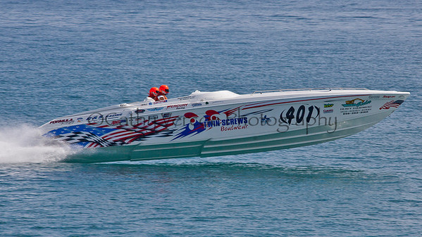 Twin screws races at the 2012  OPA Palm Beach Offshore Powerboat World Championship held at Juno Beach, Jupiter, Florida USA.. Cathy Vercoe