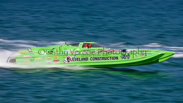 Cleveland Construction at the 2012  OPA Palm Beach Offshore Powerboat World Championship held at Juno Beach, Jupiter, Florida USA.. Cathy Vercoe