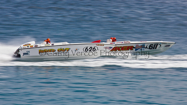 Maxed Out and Joker racing at the 2012  OPA Palm Beach Offshore Powerboat World Championship held at Juno Beach, Jupiter, Florida USA.. Cathy Vercoe