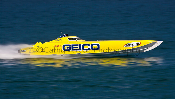 Miss Geico at the 2012  OPA Palm Beach Offshore Powerboat World Championship held at Juno Beach, Jupiter, Florida USA.. Cathy Vercoe