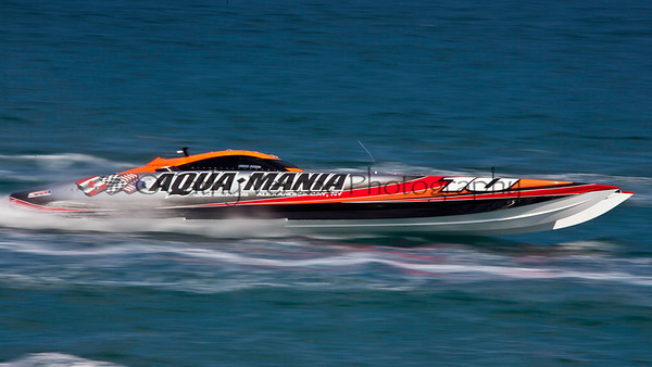 Aqua Mania at the 2012  OPA Palm Beach Offshore Powerboat World Championship held at Juno Beach, Jupiter, Florida USA.. Cathy Vercoe