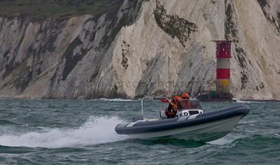 No 18 RIB passes the Needles at the P1 Powerboat RIB race from Lymington 2010.